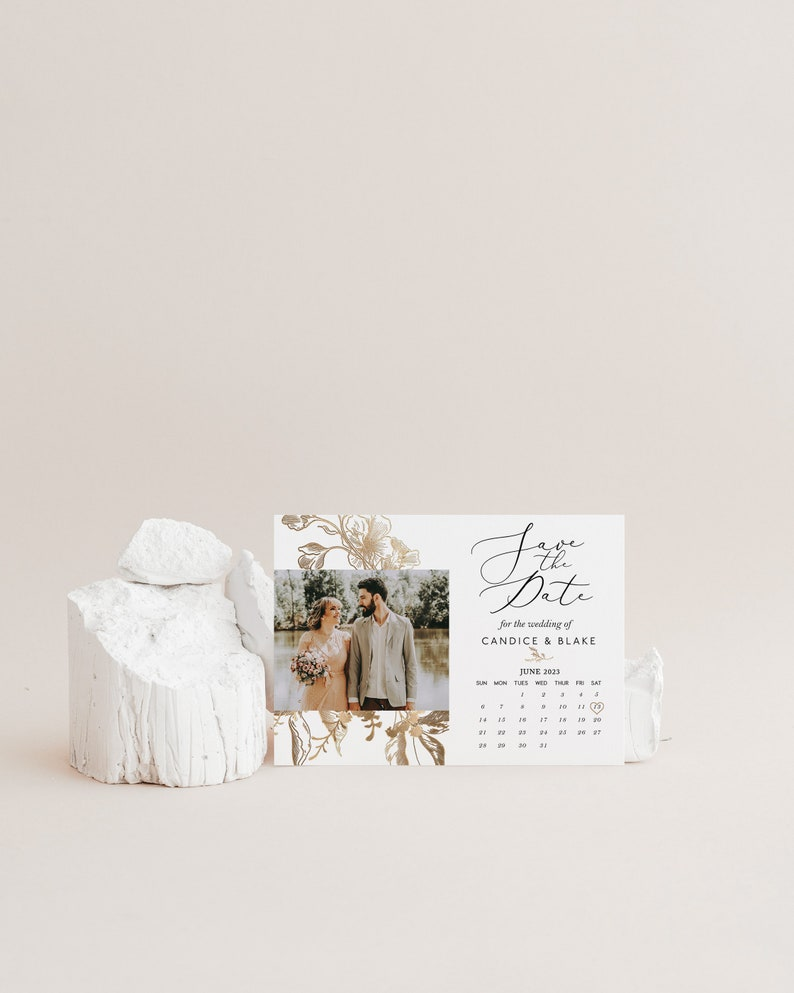 Instant Download Photo Save The Date Card Gold Save the Date Template Corjl WP187 Gold Faux Floral Wedding Date Calendar Save the Date