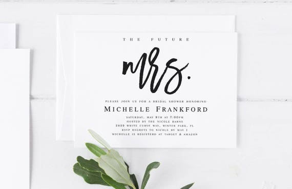The Future Mrs Bridal Shower Invitation Template Future Mrs Etsy