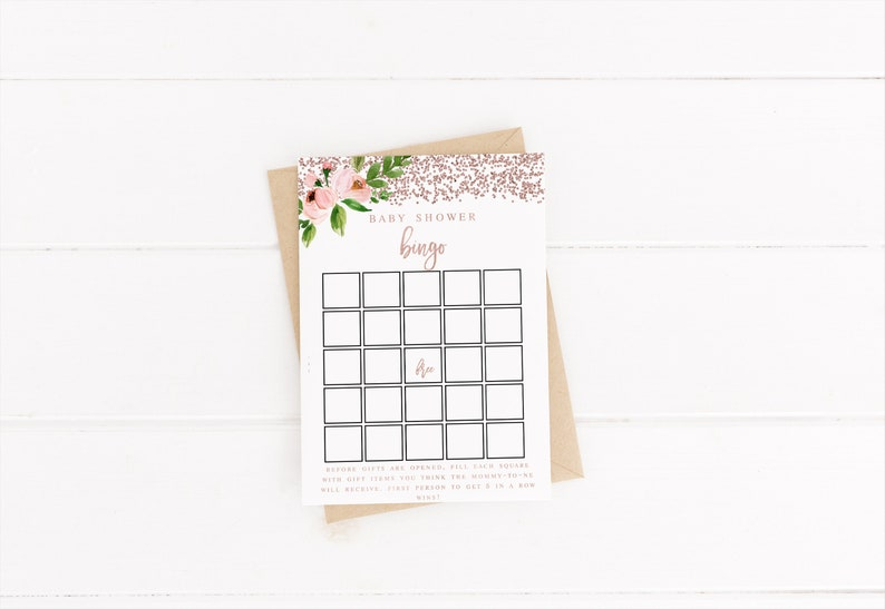 Rose Gold Pink Greenery Baby Shower Bingo Game cards Template Printable Editable Baby Shower Rose Gold Gender Neutral Shower #WP198