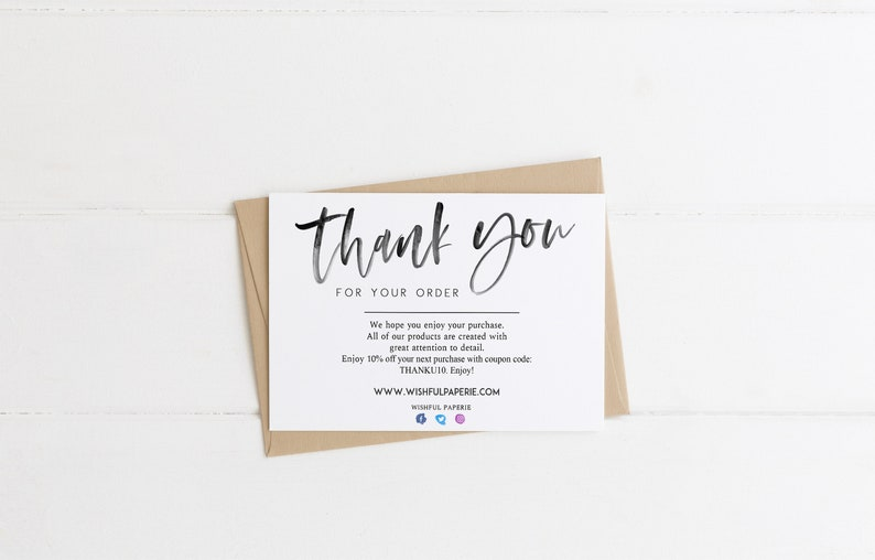 modern thank you for your order cards template small