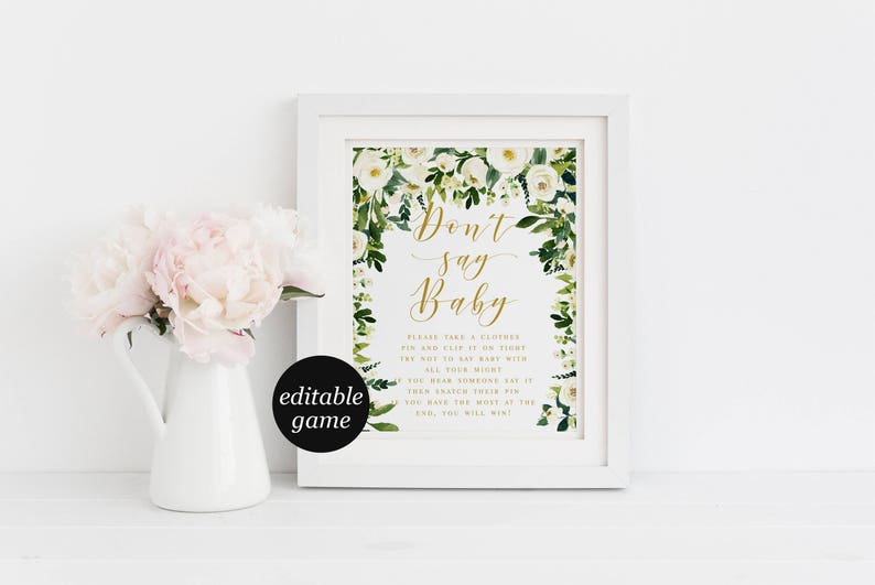 Bohemian White Floral Foliage Don/'t Say Baby Clothes Pin Baby Shower Games Template Editable Baby Shower Game Green Leaf #WP002