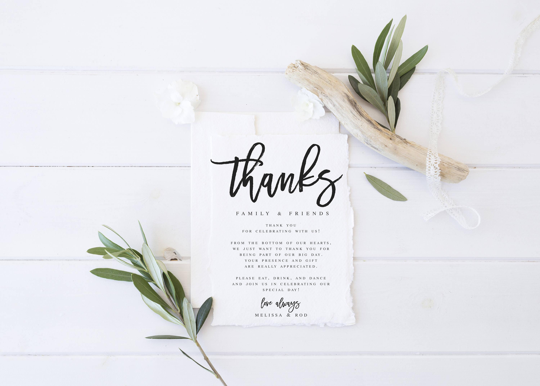 Modern Wedding Thank You letter Template Wedding Thank You