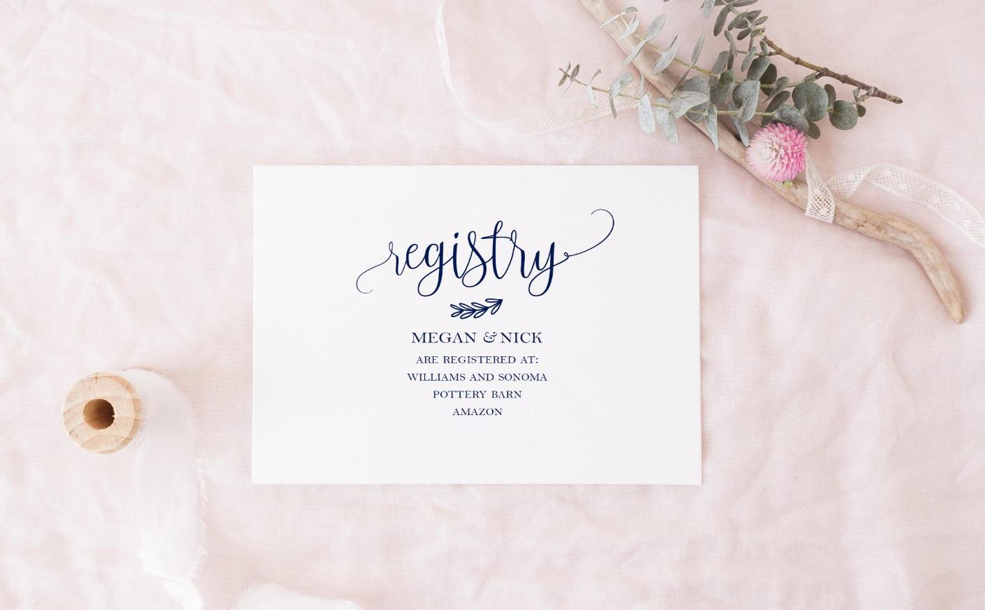Navy Registry Cards Template Diy Gift Registry Card Template Etsy
