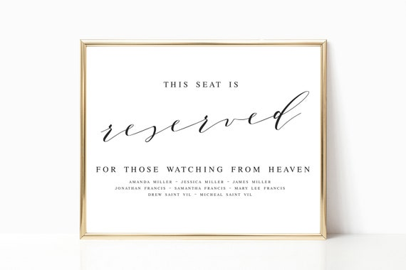 elegant this seat is reserved in loving memory template etsy