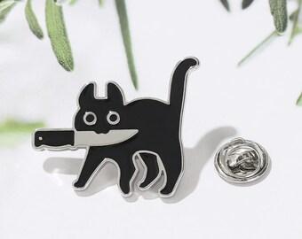 Black Cat Killer Brooch Cartoon Shirt Jacket Lapel Pin Funny Animal Kitten and Knife Badge