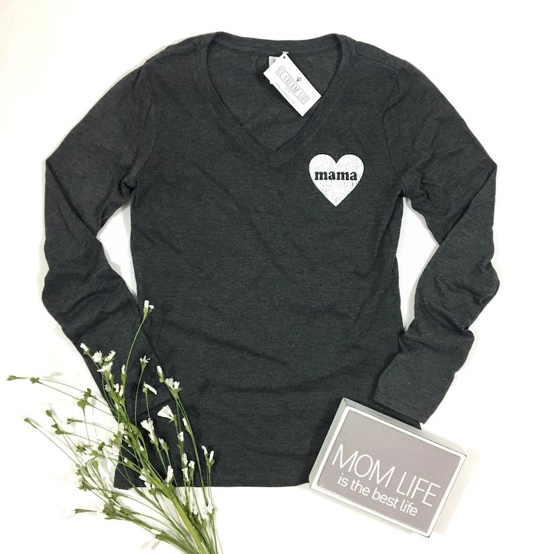 4ab5c797b5fc74 Mama Heart Shirt Womens Long Sleeve Vneck Charcoal Gray Mom | Etsy