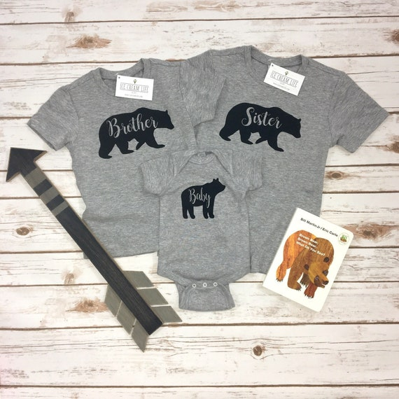 Little Brother Bear Bodysuit  gender reveal sibling shirts baby announcement bear shirts pregnancy reveal Big Brother Bear Shirt