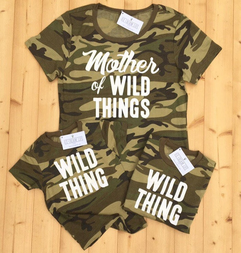 93c13dc1c8 Mom Shirt Mother of Wild Things Camo Camouflage Womens Tee | Etsy