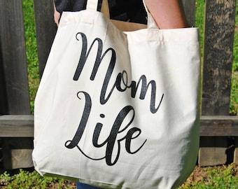 Mom Bag, Mom Life, Canvas Tote Bag, Beach Bag