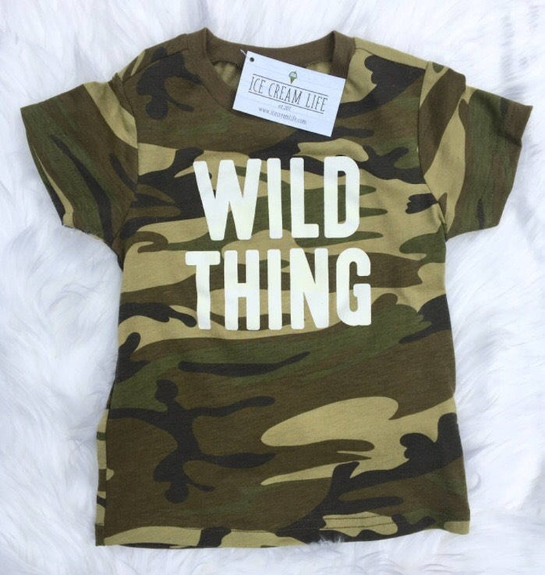 453f2fa963680 Wild Thing Camo Shirt Baby Toddler Kid Camouflage Tee Funny | Etsy