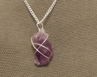 Wire Wrapped Amethyst Crystal Necklace, Amethyst Shard Pendant