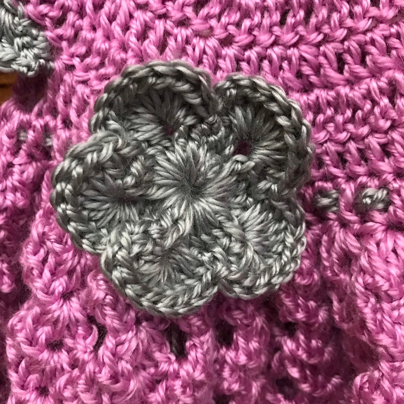 Purple and gray. 0-6 months crochet heirloom spring Easter dress