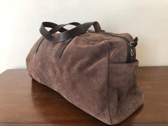 Pristine suede overnight duffel bag