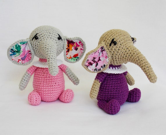 Amigurumi Crochet Pattern Elephant Crocheted Animals Etsy