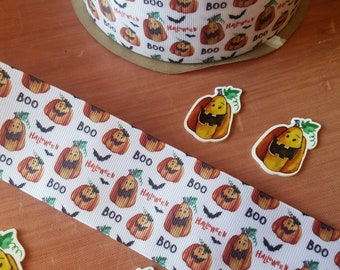 Scary Pumpkin Ribbon THREE yard lot Plastic Resin Embellishment Lot of THREE