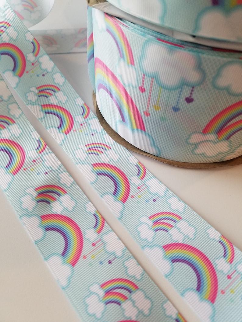 Rainbow Cloud Grosgrain Ribbon THREE Yard Lot