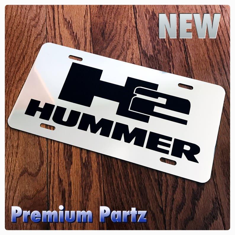 Hummer H3 License Plate Frame Chrome Metal Chrome Text Carbon Fiber Details