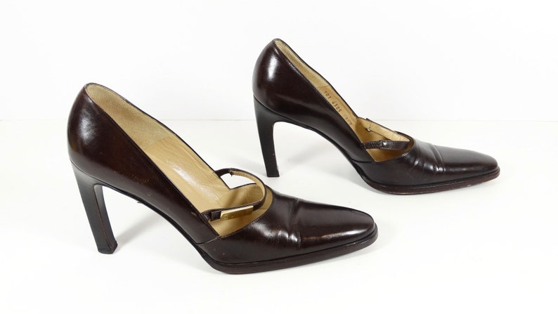294acedd834fa Vintage Gucci Authentic Vintage Leather High Heels, Vintage Italian Brown  Leather Designer Pumps, Strap Style Gucci Women's 7.5 7 1/2
