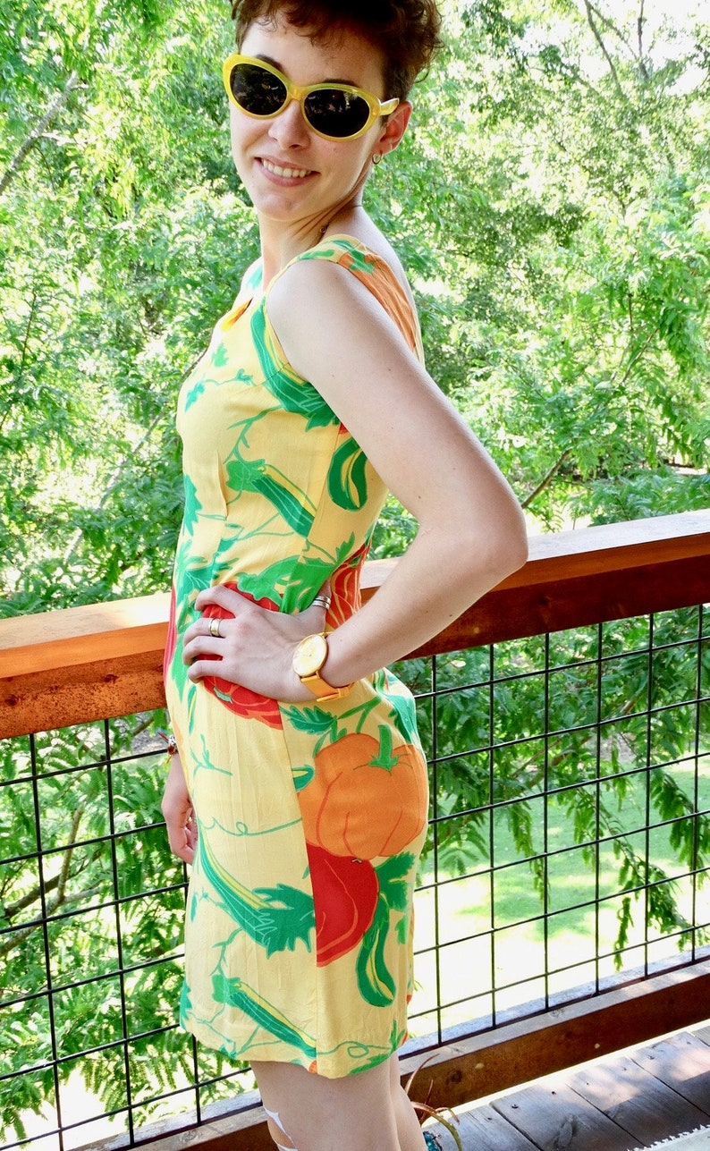 80s 90s Vintage Jams World Dress Size 5 Pumpkin Print Shift Slip Dress Gourd Squash Fall Print