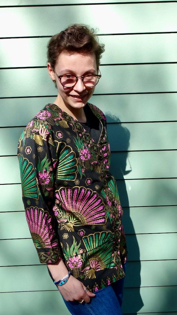 Vintage Kimono Style Jacket Asian Dragon Gold Meta