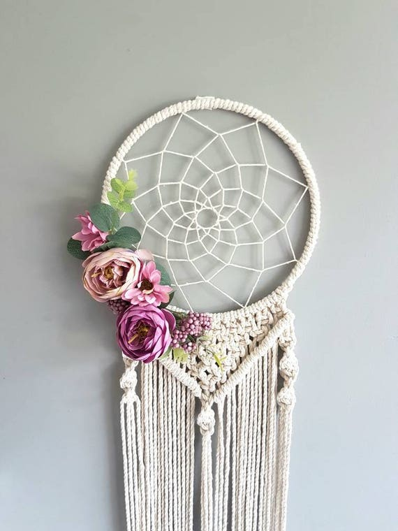 floral macrame dream catcher