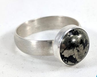 Round 10mm Pyrite and Sterling Silver Ring - Size 6