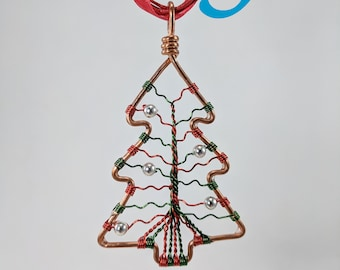 Large Copper Christmas Tree-of-Life Necklace with Ornaments