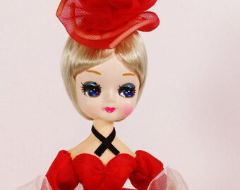 1960s Big Eye Bradley Doll - Red Victorian Big Eyes 60s Doll Vamp