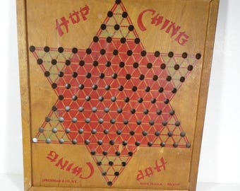 Wood Chinese Checkers Board, Vintage Board Game Wall Hanging Decor Hop Ching
