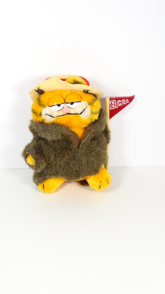 Vintage Garfield Plush Figure Big Cat On Campus Beaver Coat Etsy