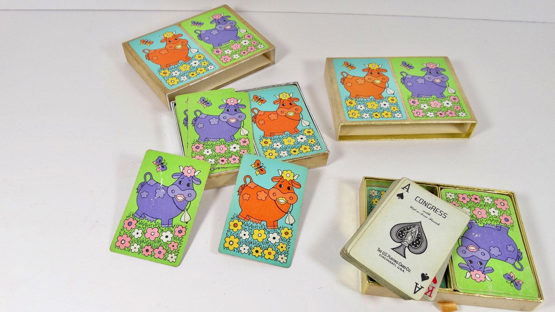 Vintage Playing Cards Congress Cel U Tone Bridge Deck Double Deck Midcentury Cow Kitsh Cards