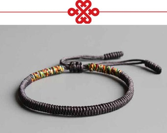 d64ed9dab0 Original - Tibetan Buddhist Tibetan Lucky Knot Bracelet Handmade Size  Adjustable Deep Grey