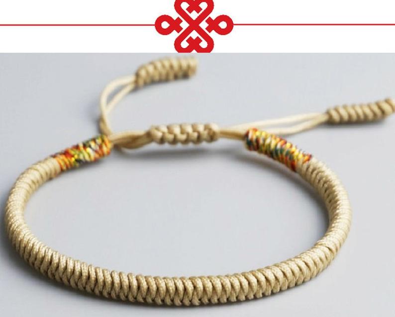 4 Colors Tibetan Buddhist Love Lucky Bracelets Handmade Knots Rope Budda