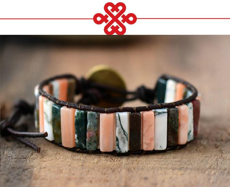 Original Tube Shape Natural Howlite Single Leather Wrap Lucky Bracelets Semi Precious Stone