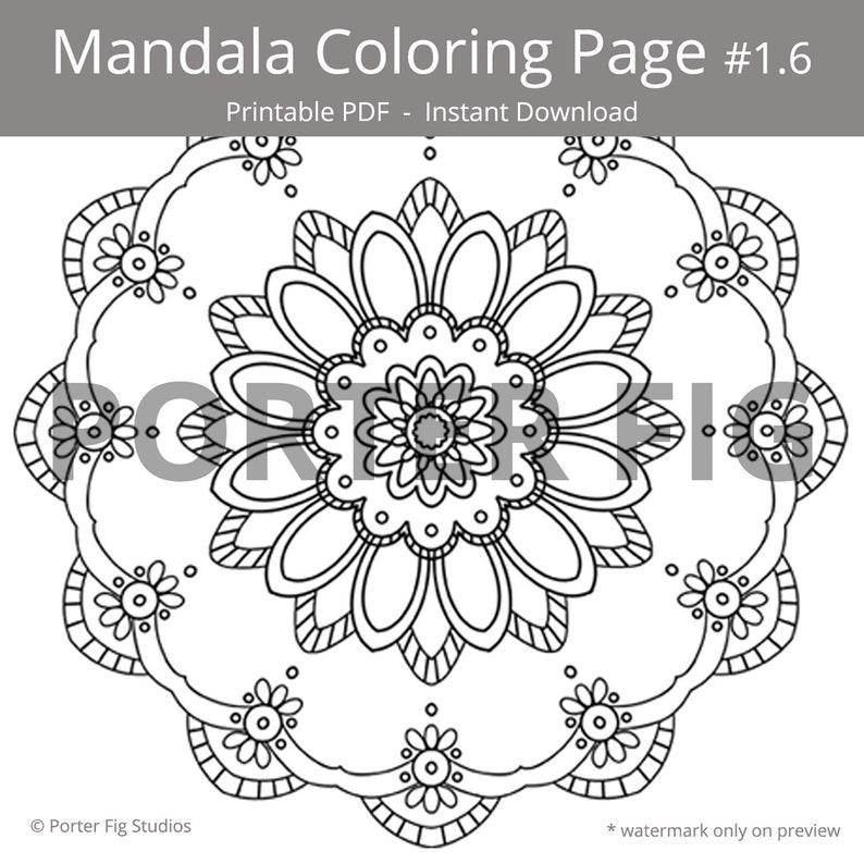 Mandalas Coloring Page Stress Relief Printable Colouring Pdf Digital Download 1 6