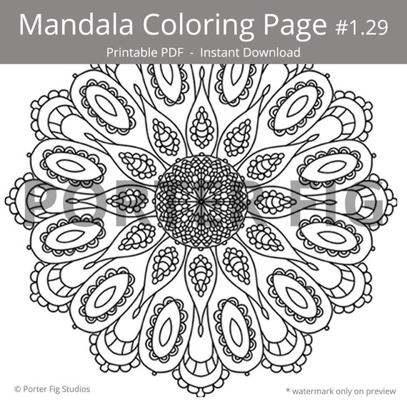 Abstract Flower Mandala Printable Coloring Page Mindful Colouring PDF Instant Download #1.29