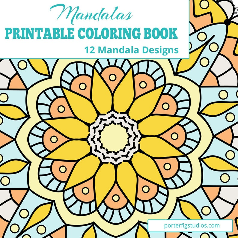 Mandalas Coloring PDF Book   12 Printable Mandalas Coloring image 0