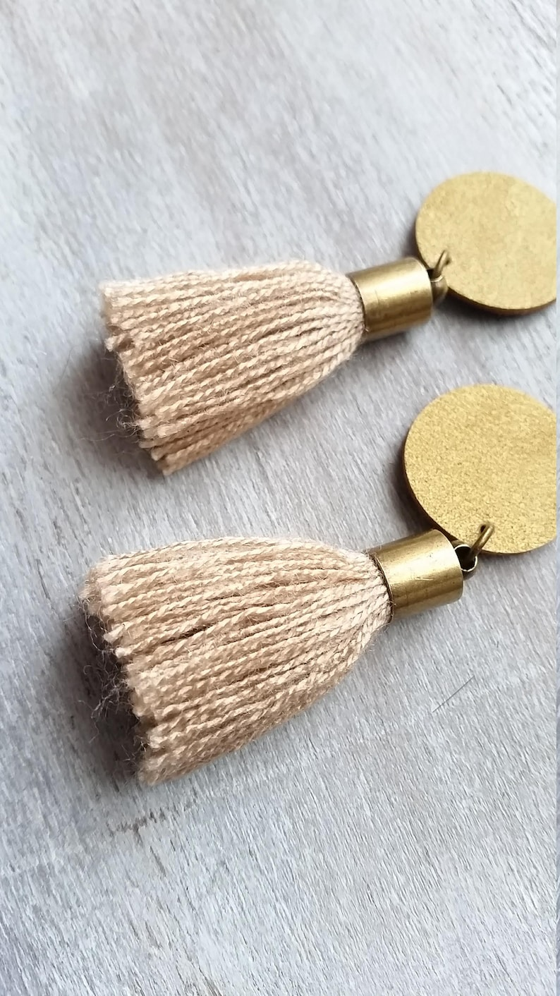 Statement boho tassel earrings Antique Gold leather earrings Short cotton tassel
