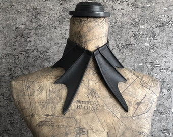 bat collar necklace | black detached collar | gothic | vampire bat | women's collar | unisex | bat wing | faux vegan leather | halloween bat