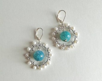 Cracked Crown with Pearl & agate earrings