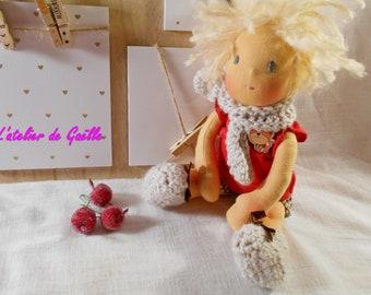 waldorf doll ,10/11 inches , natural fibers , Steiner doll , OOAK , handmade , 100 % organic , carded wool , rag doll