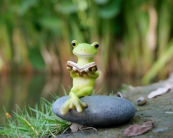 tiny frog reading book on stone water pool landscape fountain miniature disney fairy garden supplies terrarium accessories animal figurine - Garden Animals