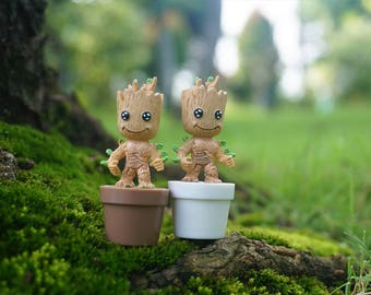 Miniature Small Fairy Trees Guardians of the Galaxy Figurine Strong Groot ,  Miyazaki Ghibli Fairy Garden Supplies Terrarium Accessories