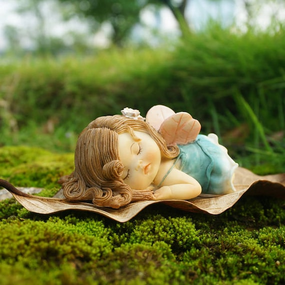 Miniature Fairy Girl Sleep With Wing Terrarium Figurines Etsy