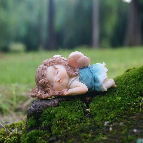 Miniature Fairy Fat Girl Sleep With Wing Terrarium Figurines Etsy