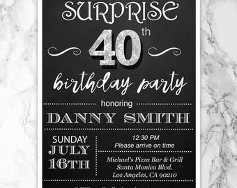 40th birthday invitation for men etsy surprise 40th birthday invitation mens 40th birthday party invitations mens 40th birthday invitation printed invitations filmwisefo