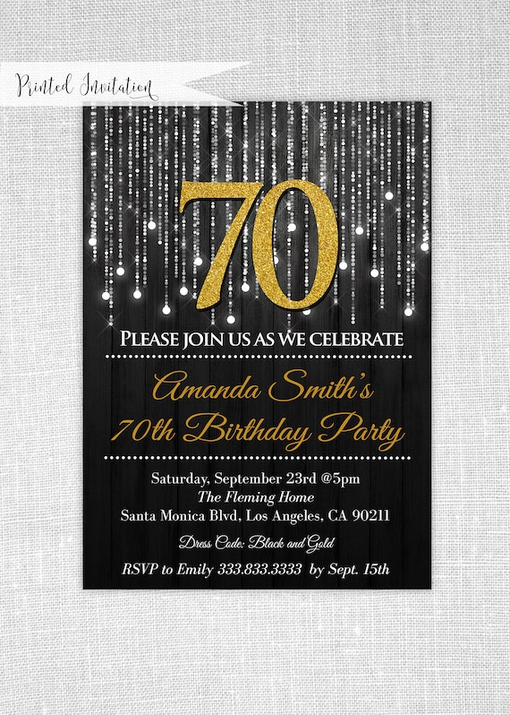 items similar to black and gold 70th birthday invitations