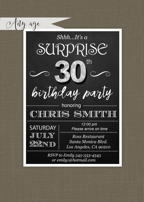 Surprise 30th Birthday Invitations By Glam Paperie