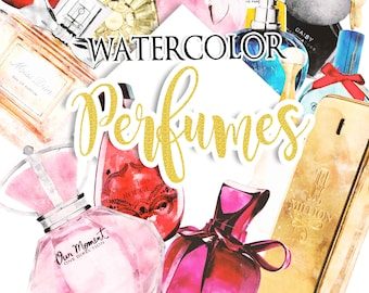 Watercolor Perfume Clipart Set, Digital Clipart, Planner Clipart, Fashion Girl Clipart, Beauty Clipart, Fashionista DIY, Makeup Clipart, PNG