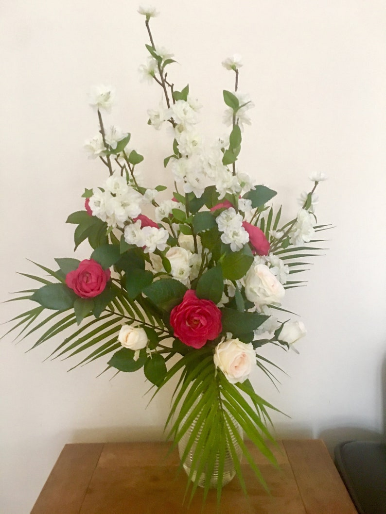 image 0 ... & Beautiful Artificial Flowers Vase Bouquet Arrangement Camellia | Etsy